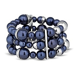 J by Jasper Conran - Designer blue pearl capped triple row stretch bracelet