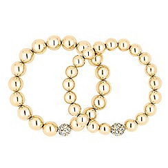 J by Jasper Conran - Designer crystal and polished gold ball stretch bracelet set