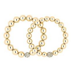J by Jasper Conran - Designer crystal and polished gold ball stretch bracelet set