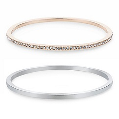 J by Jasper Conran - Designer Silver crystal pack of two bangles