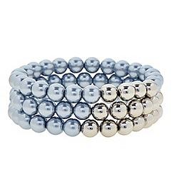 J by Jasper Conran - Designer blue and silver pearl multi row bracelet