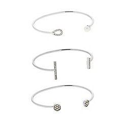 J by Jasper Conran - Designer Pack of three pave and pearl silver open bangles