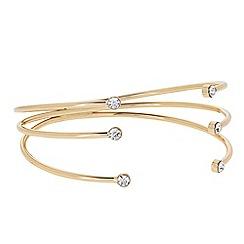 J by Jasper Conran - Designer Gold crystal three row open bangle