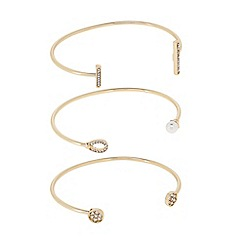 J by Jasper Conran - Designer Pack of three pave and pearl open bangles