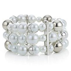 J by Jasper Conran - Designer silver capped pearl multi row bracelet