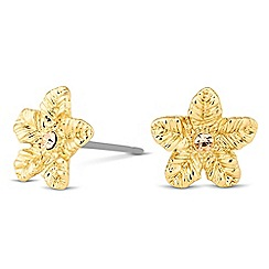 No. 1 Jenny Packham - Designer textured gold flower stud earring