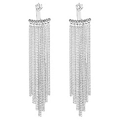 No. 1 Jenny Packham - Designer silver cubic zirconia chain fringe front and back earring