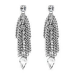 No. 1 Jenny Packham - Designer silver crystal fringe statement earring