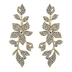 No. 1 Jenny Packham - Designer gold crystal floral drop earrings