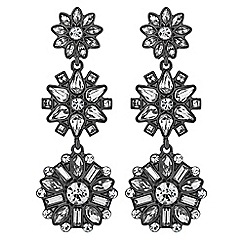 No. 1 Jenny Packham - Designer grey tonal floral drop earrings