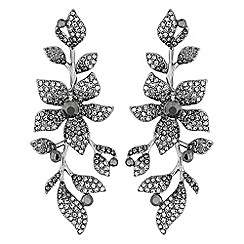 No. 1 Jenny Packham - Designer grey crystal floral drop earrings