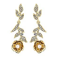 No. 1 Jenny Packham - Designer gold floral drop earrings