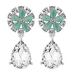 No. 1 Jenny Packham - Designer aqua floral drop earrings