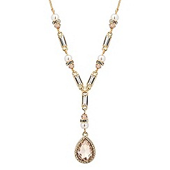 No. 1 Jenny Packham - Designer peach and pearl peardrop necklace