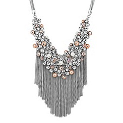 No. 1 Jenny Packham - Designer pastel crystal cluster fringe necklace