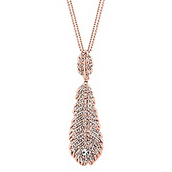 No. 1 Jenny Packham - Designer rose gold peacock feather pendant necklace