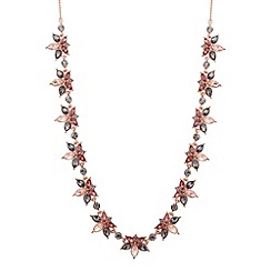 No. 1 Jenny Packham - Designer rose gold multi crystal cluster necklace