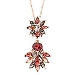 No. 1 Jenny Packham - Designer rose gold multi crystal pendant necklace