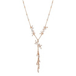 No. 1 Jenny Packham - Designer rose gold cubic zirconia tassel drop necklace