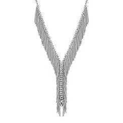 No. 1 Jenny Packham - Designer silver crystal fringe statement necklace