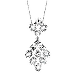 No. 1 Jenny Packham - Designer silver peardrop burst long pendant necklace