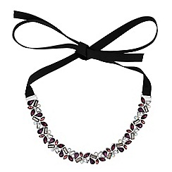 No. 1 Jenny Packham - Designer purple tonal crystal ribbon choker necklace