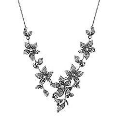 No. 1 Jenny Packham - Designer grey crystal floral necklace