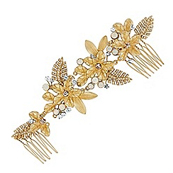 No. 1 Jenny Packham - Gold flower double hair comb