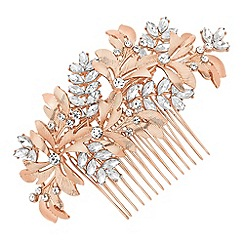 No. 1 Jenny Packham - Designer rose gold crystal leaf hair comb
