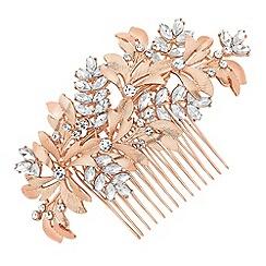 No. 1 Jenny Packham - Designer rose gold crystal leaf hair comb