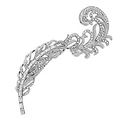 No. 1 Jenny Packham - Designer silver crystal peacock feather hair clip