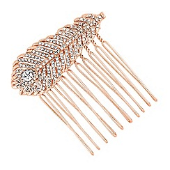 No. 1 Jenny Packham - Designer rose gold crystal peacock feather hair comb