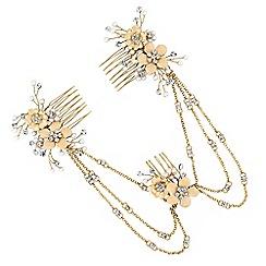 No. 1 Jenny Packham - Designer gold floral drape hair comb