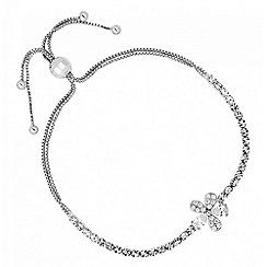 No. 1 Jenny Packham - Designer cubic zirconia silver floral toggle bracelet