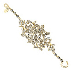 No. 1 Jenny Packham - Designer gold crystal floral statement bracelet