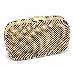 Jon Richard - Statement diamante crystal gold rectangular clutch bag
