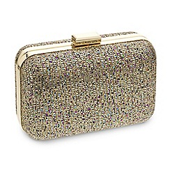 Jon Richard - Online exclusive glitter embellished gold clutch bag