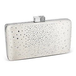 Jon Richard - Scattered crystal cream satin clutch bag