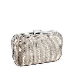 Jon Richard - Crystal embellished square satin clutch bag