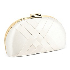 Jon Richard - Online exclusive cream satin weave clutch bag