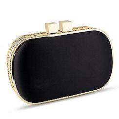 Jon Richard - Black and gold glitter edge clutch bag