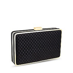 Jon Richard - Black woven satin clutch bag