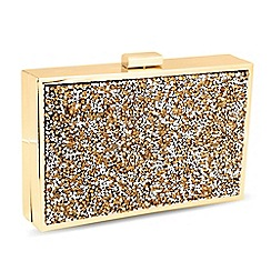 Jon Richard - Gold crystal cluster stone square clutch bag