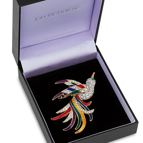 Jon Richard - Fan tail flying peacock brooch