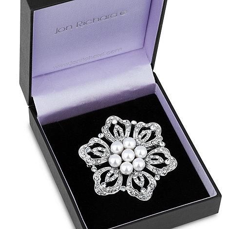 Jon Richard - Pearl centred floral filigree brooch