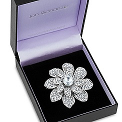 Jon Richard - Layered pave crystal silver flower brooch