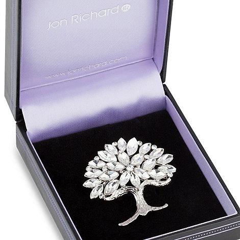 Jon Richard - Multi crystal silver tree brooch