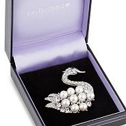 Pearl and crystal swan brooch