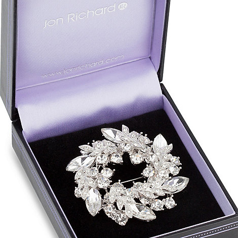 Jon Richard - Crystal navette leaf wreath brooch