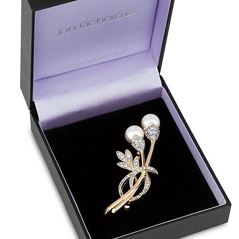 Jon Richard - Double pearl and crystal stem wrap brooch